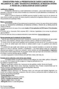 CONVOCATORIA PARA LA PRESENTACION DE CASOS CLINICOS PARA LA INCL